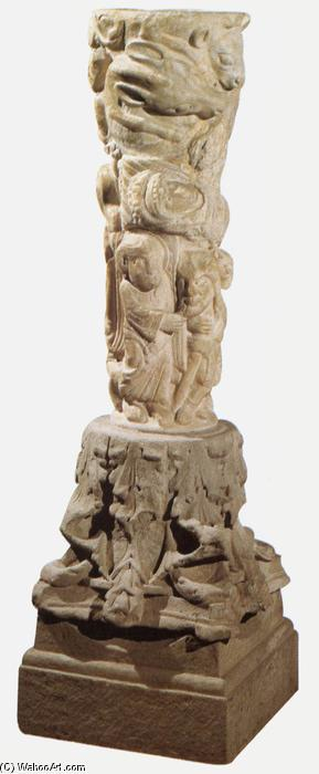 Sculptured column, Marble by Master Of Cabestany (1130-1180, Italy)