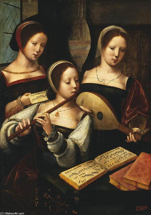 Concert of Women, Oil On Panel by Master Of Female Half Lengths