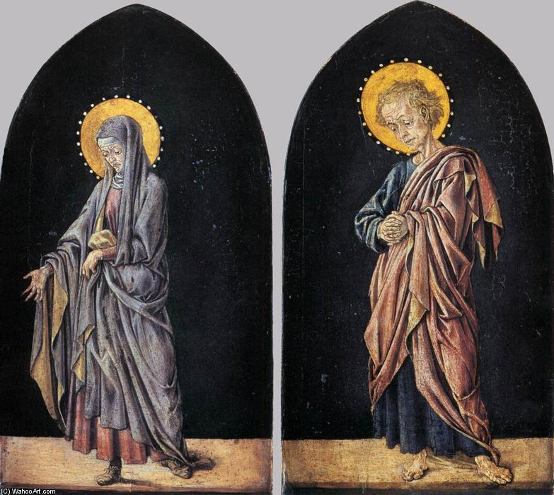 Pratovecchio Altarpiece: Virgin and St John the Evangelist, 1450 by Master Of Pratovecchio | Museum Quality Copies Master Of Pratovecchio | WahooArt.com