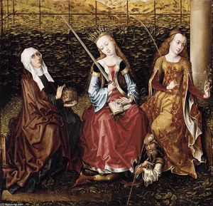Master Of The View Of Ste Gudule (Meester Van Het Gezicht Op Sint Goedele) - St Catherine of Alexandria with Sts Elizabeth of Hungary and Dorothy