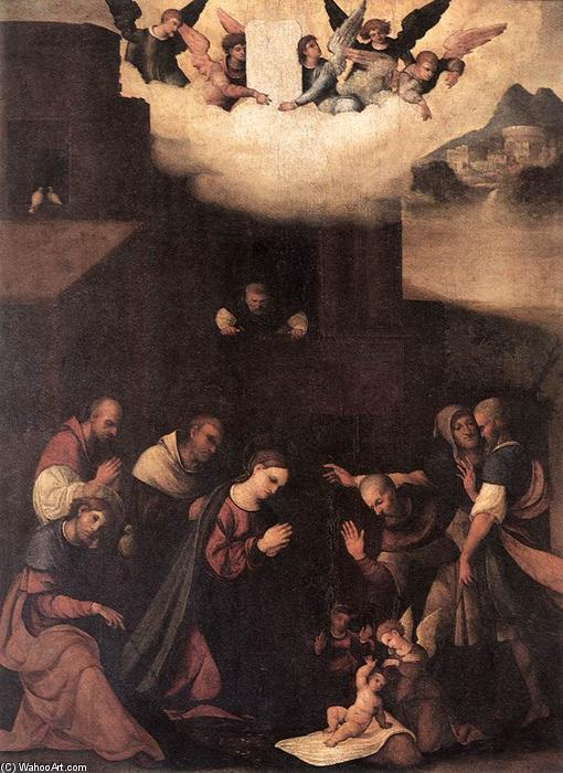 Adoration of the Shepherds, 1520 by Ludovico Mazzolino (1480-1528, Italy) | Famous Paintings Reproductions | WahooArt.com