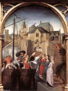Hans Memling - St Ursula Shrine: Arrival in Cologne (scene 1)