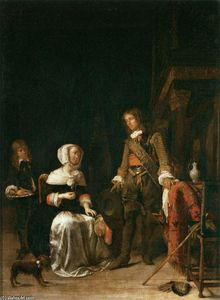 Gabriel Metsu - Soldier Paying a Visit to a Young Lady