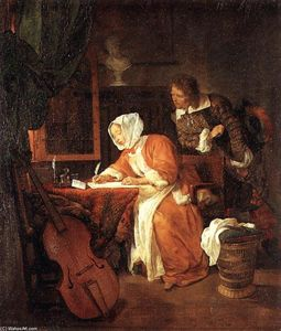 Gabriel Metsu - The Letter-Writer Surprised