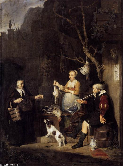 The Poultry Woman, 1662 by Gabriel Metsu (1629-1667, Netherlands) | Painting Copy | WahooArt.com