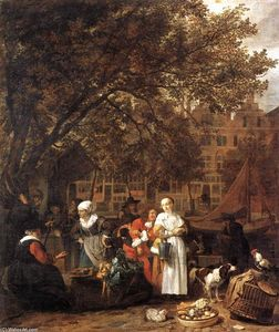 Gabriel Metsu - Vegetable Market in Amsterdam