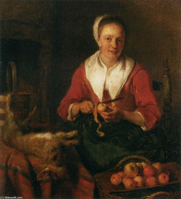 Woman Peeling an Apple, 1655 by Gabriel Metsu (1629-1667, Netherlands) | Museum Quality Reproductions | WahooArt.com
