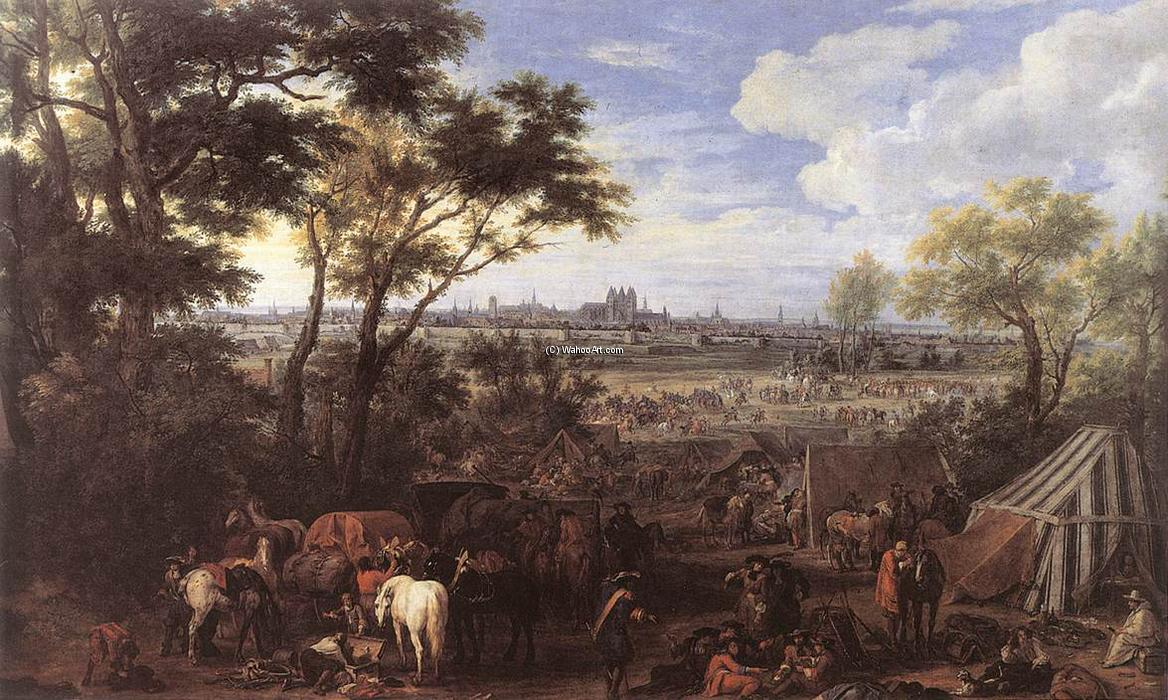 The Army of Louis XIV in front of Tournai in 1667, Oil On Canvas by Adam Frans Van Der Meulen (1632-1690, Belgium)