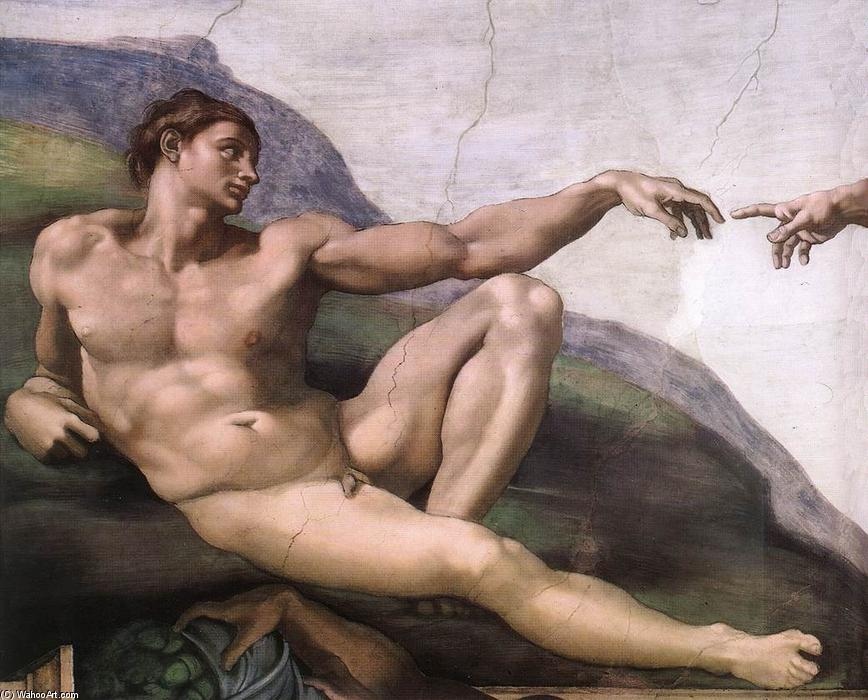 Creation of Adam (detail), Frescoes by Michelangelo Buonarroti (1475-1564, Italy)