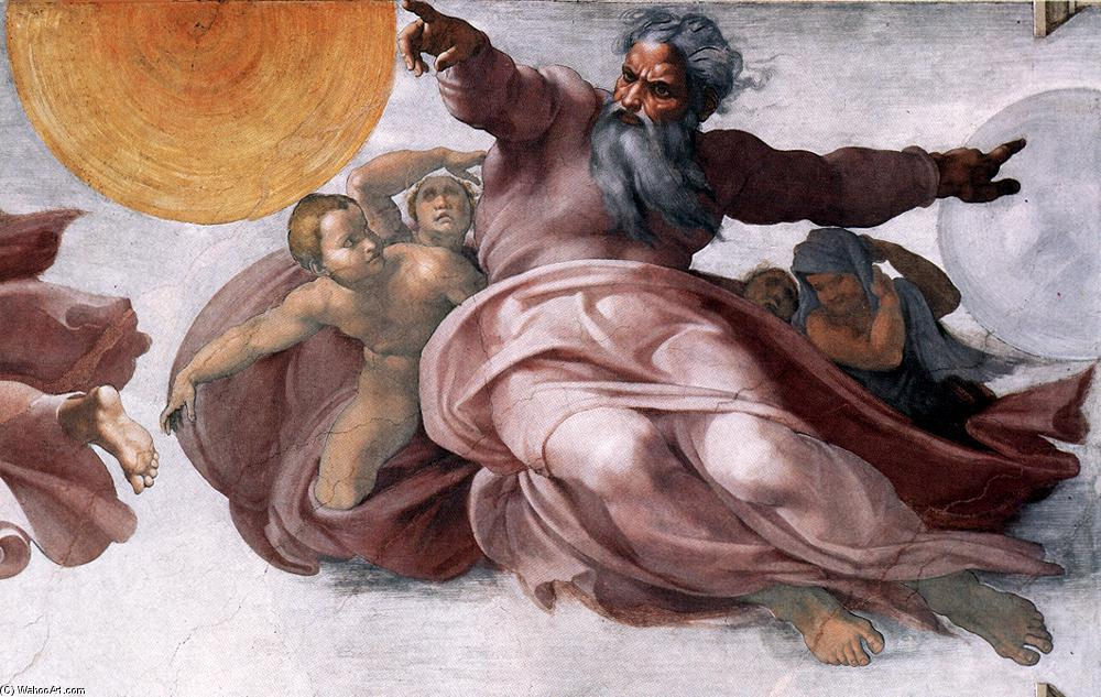 Creation of the Sun, Moon, and Plants (detail), Frescoes by Michelangelo Buonarroti (1475-1564, Italy)