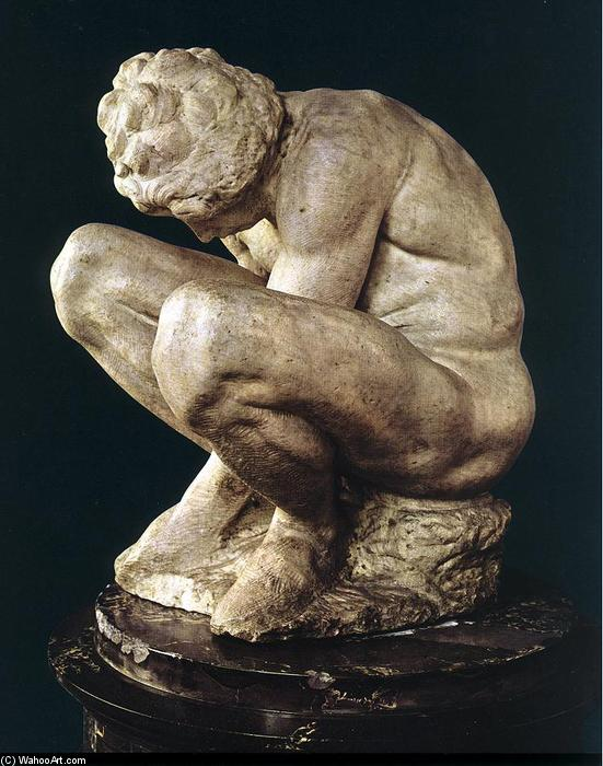 Crouching Boy, 1530 by Michelangelo Buonarroti (1475-1564, Italy) | Art Reproductions Michelangelo Buonarroti | WahooArt.com