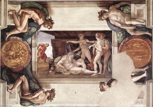 Michelangelo Buonarroti - Drunkenness of Noah (with ignudi and medallions)