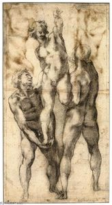 Michelangelo Buonarroti - Group of Three Male Nudes (recto)