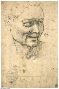 Michelangelo Buonarroti - Head Study of a Smiling Youth (recto)