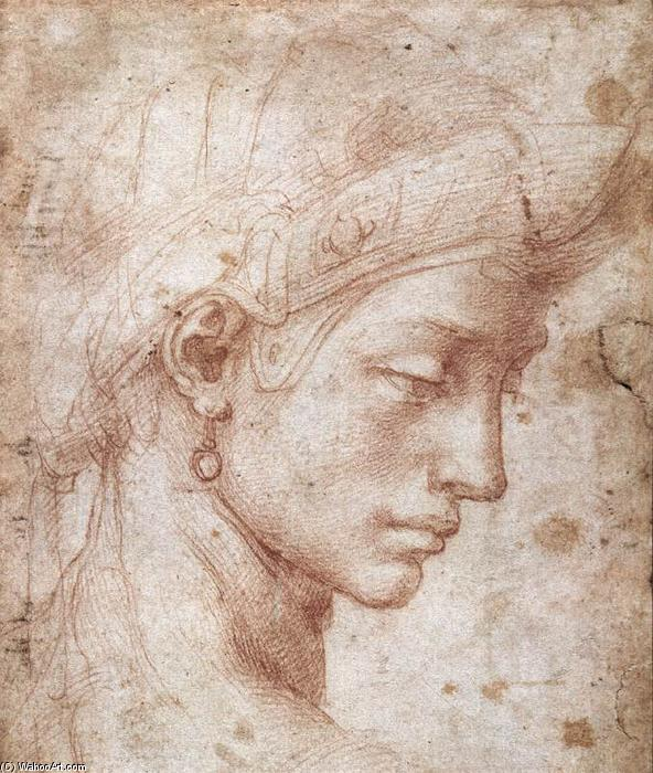 Ideal Face, Chalk by Michelangelo Buonarroti (1475-1564, Italy)