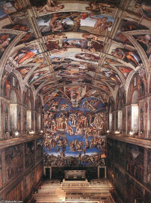 Buy Museum Art Reproductions | Interior of the Sistine Chapel, 1475 by Michelangelo Buonarroti (1475-1564, Italy) | WahooArt.com