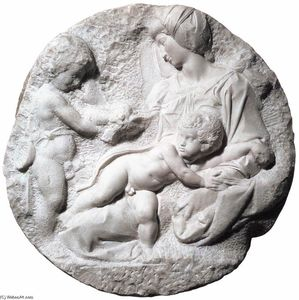 Michelangelo Buonarroti - Madonna and Child with the Infant Baptist (Taddei Tondo)