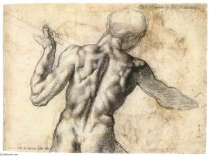 Michelangelo Buonarroti - Male Nude, Seen from the Rear (verso)