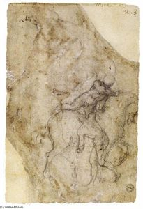 Michelangelo Buonarroti - Nude Rider Mounting a Horse and a Male Nude (verso)