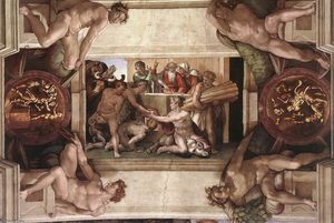 Michelangelo Buonarroti - Sacrifice of Noah (with ignudi and medallions)