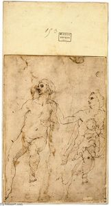 Michelangelo Buonarroti - Study of Two Women, One with Child (verso)