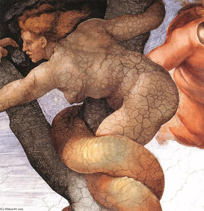 The Fall and Expulsion from Garden of Eden (detail), 1509 by Michelangelo Buonarroti (1475-1564, Italy) | Museum Quality Reproductions | WahooArt.com