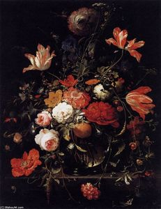 Abraham Mignon (Minjon) - A Glass of Flowers and an Orange Twig