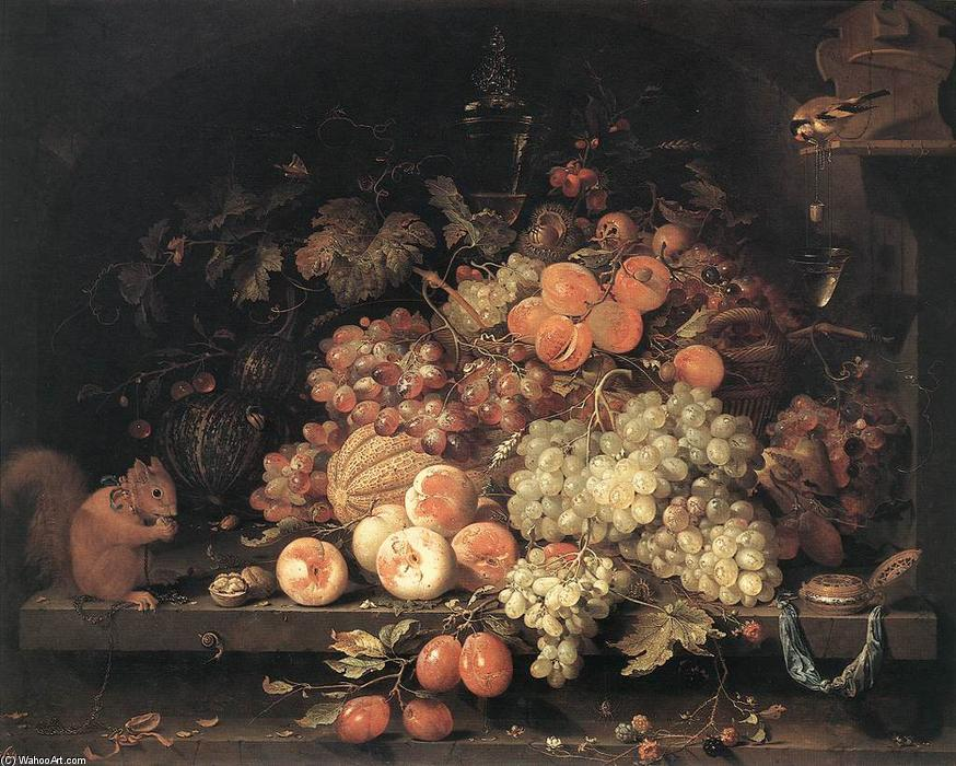 Fruit Still-Life with Squirrel and Goldfinch by Abraham Mignon (Minjon) (1640-1679, Germany) | Oil Painting | WahooArt.com