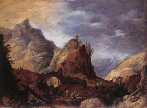 Joos De Momper - Mountain Scene with Bridges