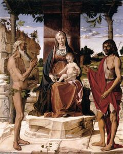 Bartolomeo Montagna - Madonna and Child under a Pergola with St John the Baptist and St Onofrius