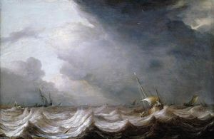 Pieter The Elder Mulier - Dutch Vessels at Sea in Stormy Weather