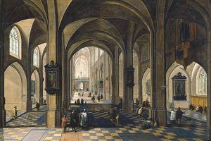Peeter Neeffs The Elder - Interior of a Gothic Cathedral