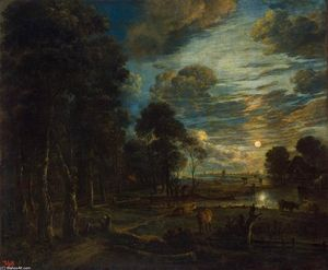 Aert Van Der Neer - Night Landscape with a River