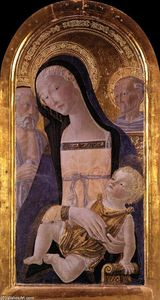 Neroccio De Landi - Madonna and Child between St Jerome and St Bernardino of Siena