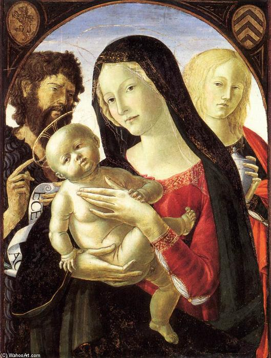 Madonna and Child with St John the Baptist and St Mary Magdalene, 1495 by Neroccio De Landi (1447-1500, Italy) | WahooArt.com