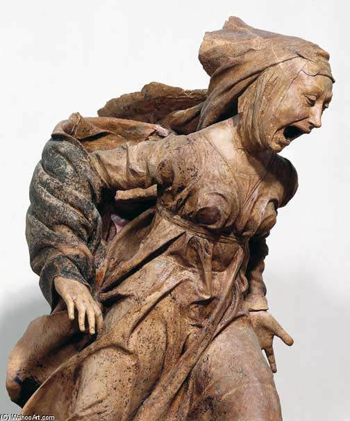 Mourning of the Marys over the Dead Christ (detail), Terracotta by Niccolò Dell' Arca (1438-1494, Italy)