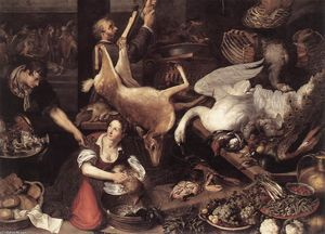 Order Paintings Reproductions | Kitchen Scene, 1616 by Adriaen Van Nieulandt The Younger (1587-1658, Belgium) | WahooArt.com