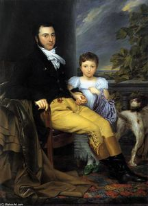 Joseph Denis Odevaere - Portrait of a Prominent Gentleman with his Daughter and Hunting Dog