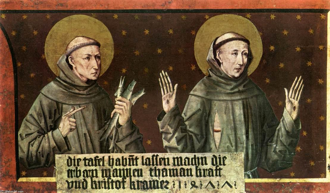 St Anthony of Padua and St Francis of Assisi, Tempera by Friedrich Pacher (1474-1508, Italy)