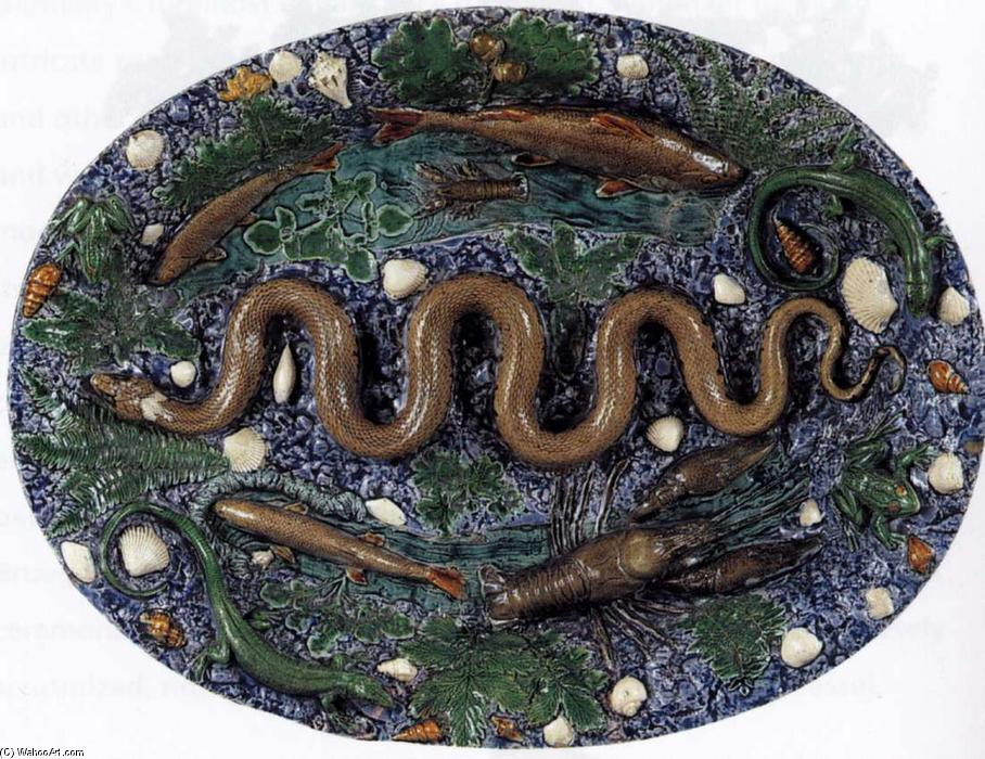 Oval platter, Terracotta by Bernard Palissy (1510-1590, France)