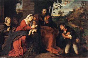 Palma Vecchio - Adoration of the Shepherds with a Doonor