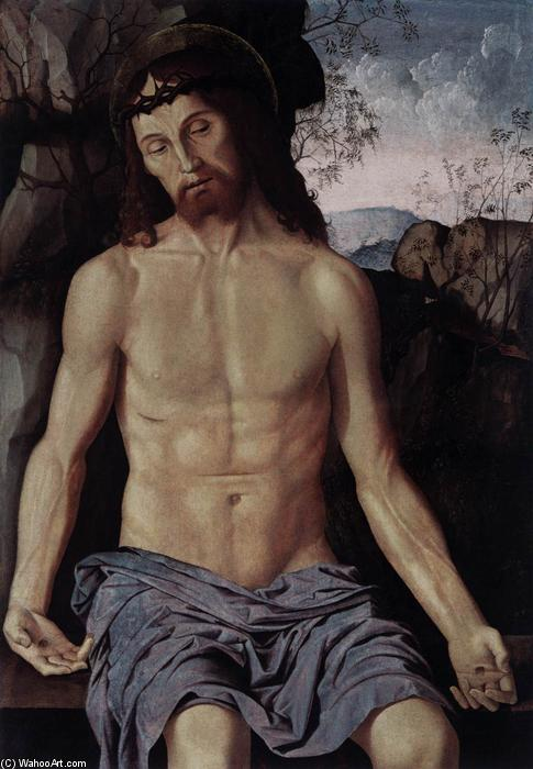 Man of Sorrows, Oil On Panel by Marco Palmezzano (1460-1539, Italy)