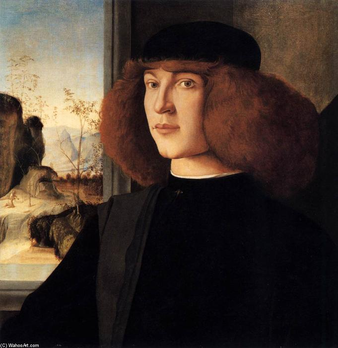 Portrait of a Young Man, Oil by Marco Palmezzano (1460-1539, Italy)