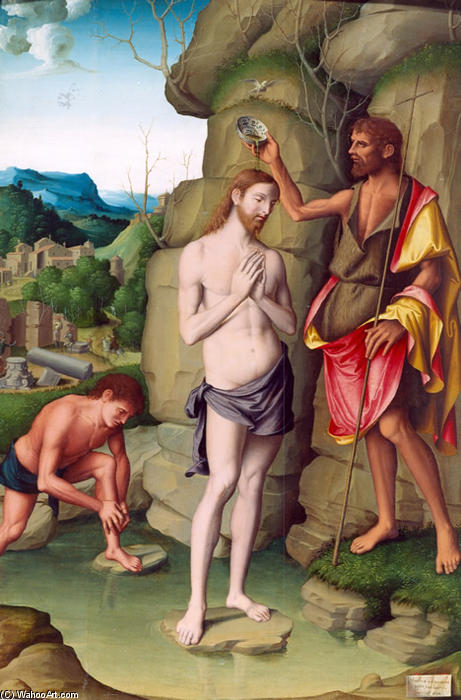 The Baptism of Christ, Oil On Panel by Marco Palmezzano (1460-1539, Italy)