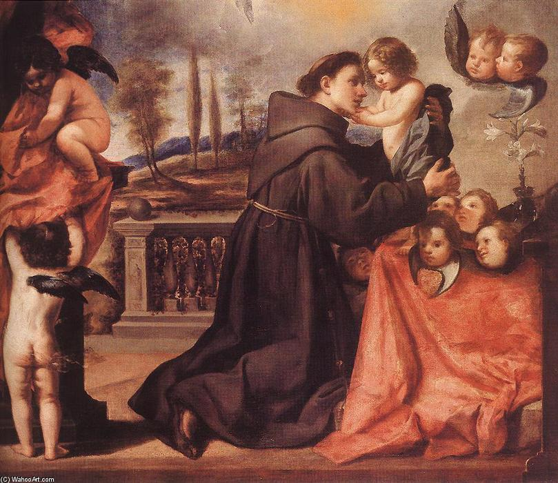 St Anthony of Padua with Christ Child, Oil On Canvas by Antonio Pereda Y Salgado (1611-1678)