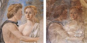 Piero Della Francesca - A detail after and before restoration