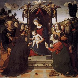 Piero Di Cosimo (Piero Di Lorenzo) - Virgin and Child Enthroned with Saints