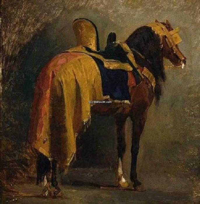 Buy Museum Art Reproductions | Horse Caparisoned, 1860 by Isidore Alexandre Augustin Pils (1815-1875, France) | WahooArt.com