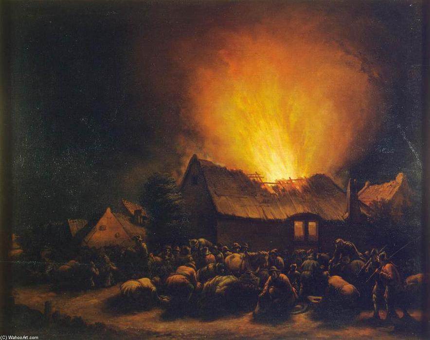 Fire in a Village, Oil On Panel by Egbert Van Der Poel (1621-1664, Netherlands)