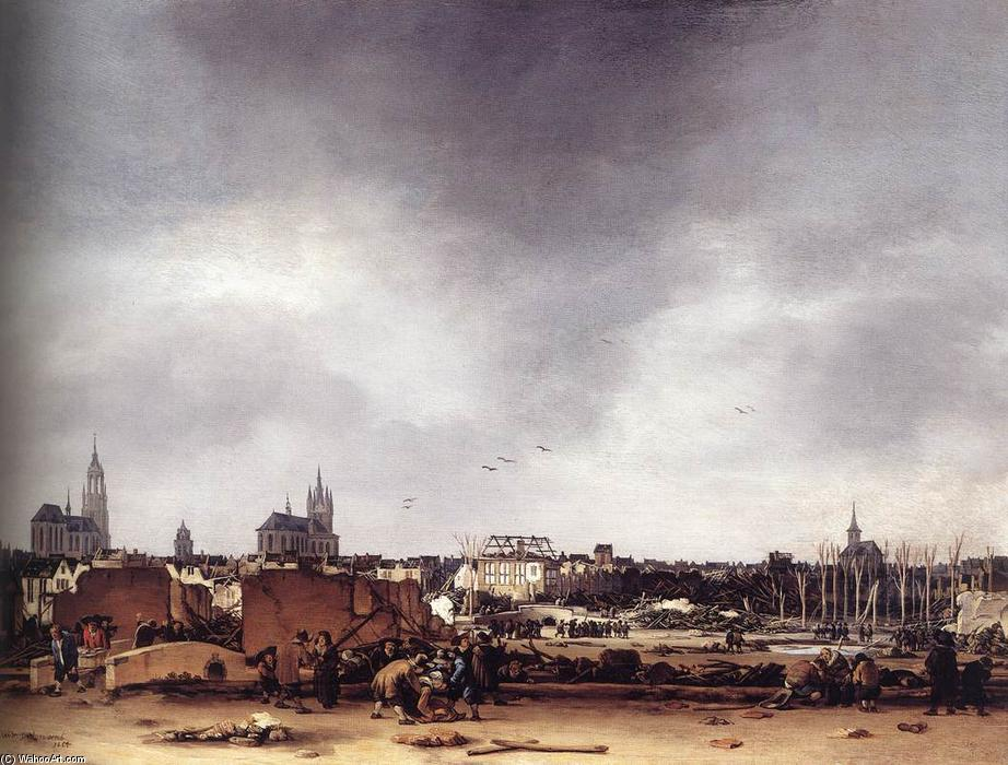 View of Delft after the Explosion of 1654, Oil by Egbert Van Der Poel (1621-1664, Netherlands)